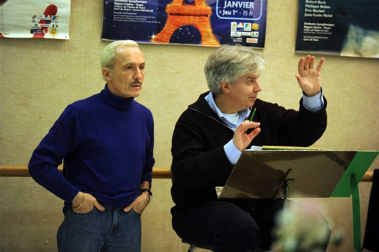 Bernard Pisani et Jean-Yves Ossonce en répétition de l'Amour Masqué à l'Opéra de Tours